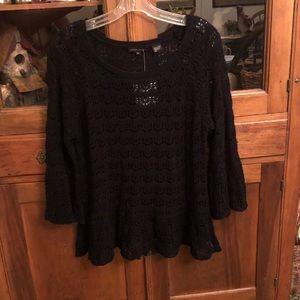 Jeanne Pierre Black 3/4 Sleeve Knit Sweater M NWT